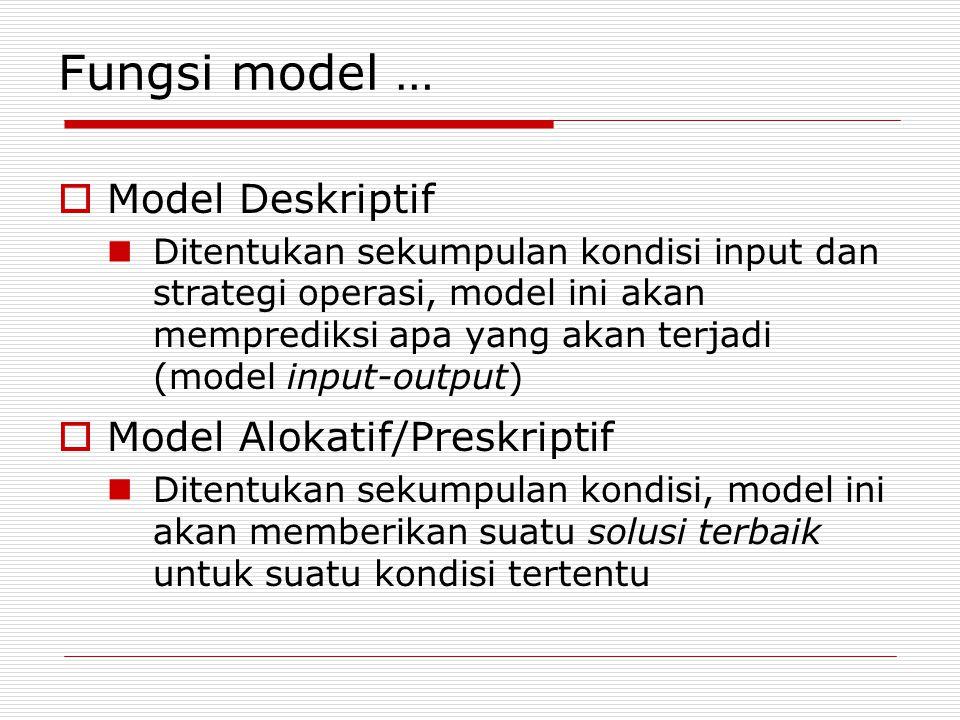 Fungsi model …  Model Deskriptif Ditentukan sekumpulan kondisi input dan strategi operasi, model ini akan memprediksi apa yang akan terjadi (model input-output)  Model Alokatif/Preskriptif Ditentukan sekumpulan kondisi, model ini akan memberikan suatu solusi terbaik untuk suatu kondisi tertentu