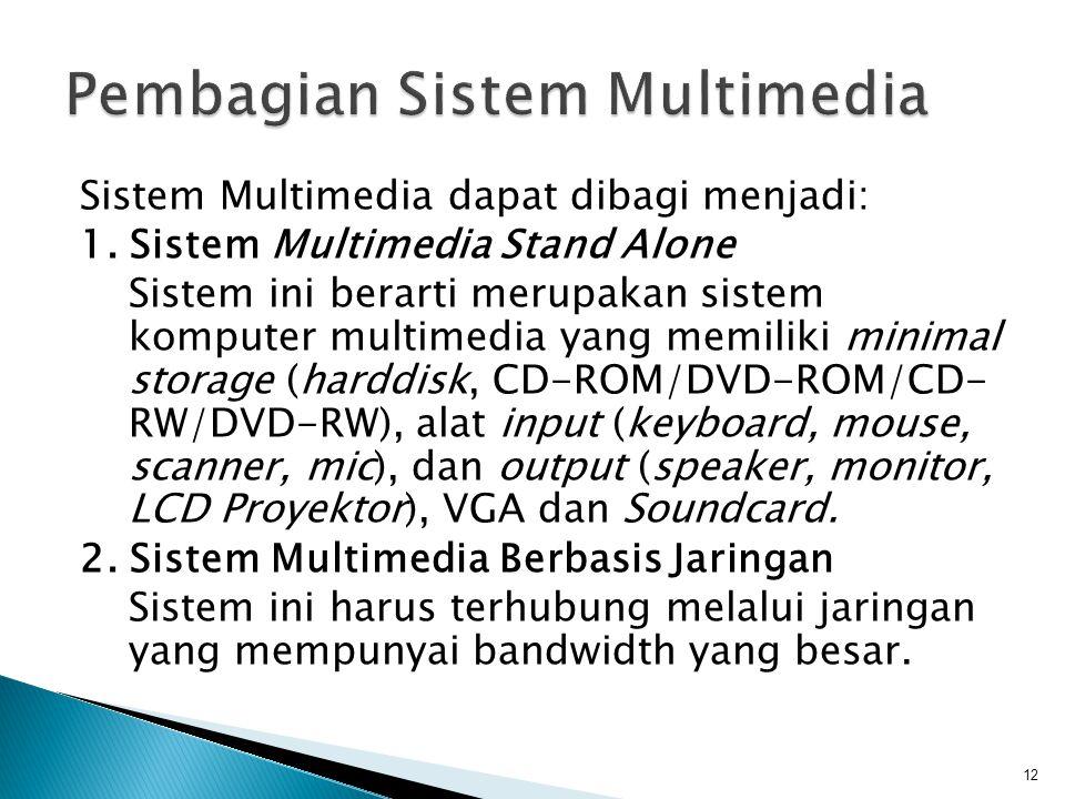 Sistem Multimedia dapat dibagi menjadi: 1. Sistem Multimedia Stand Alone Sistem ini berarti merupakan sistem komputer multimedia yang memiliki minimal