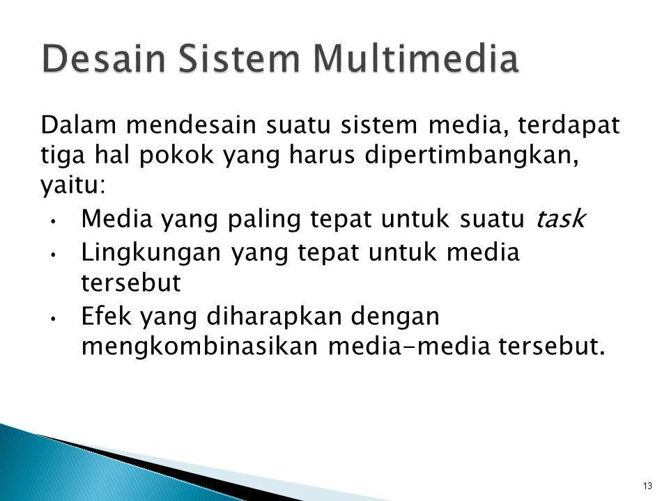 Dalam mendesain suatu sistem media, terdapat tiga hal pokok yang harus dipertimbangkan, yaitu: Media yang paling tepat untuk suatu task Lingkungan yang tepat untuk media tersebut Efek yang diharapkan dengan mengkombinasikan media-media tersebut.