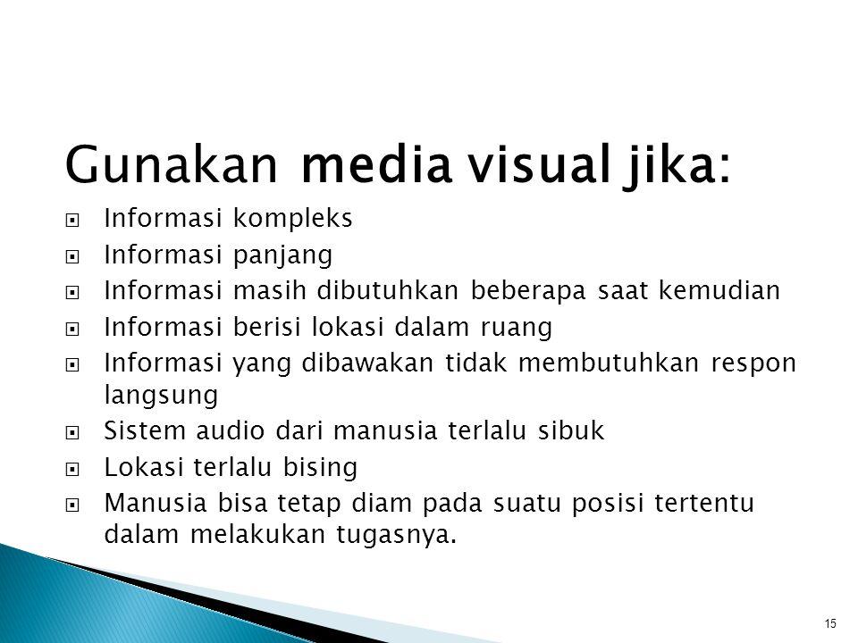 Gunakan media visual jika:  Informasi kompleks  Informasi panjang  Informasi masih dibutuhkan beberapa saat kemudian  Informasi berisi lokasi dala