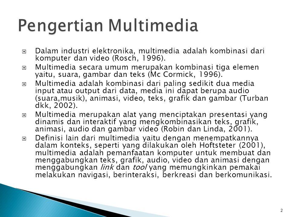  Dalam industri elektronika, multimedia adalah kombinasi dari komputer dan video (Rosch, 1996).