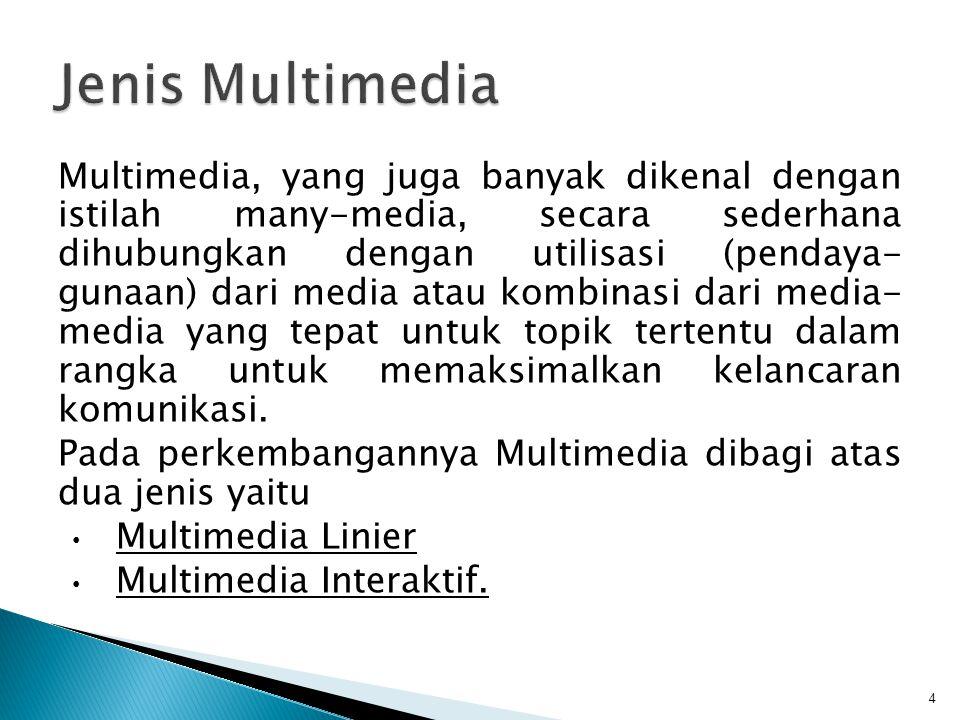 Multimedia, yang juga banyak dikenal dengan istilah many-media, secara sederhana dihubungkan dengan utilisasi (pendaya- gunaan) dari media atau kombinasi dari media- media yang tepat untuk topik tertentu dalam rangka untuk memaksimalkan kelancaran komunikasi.
