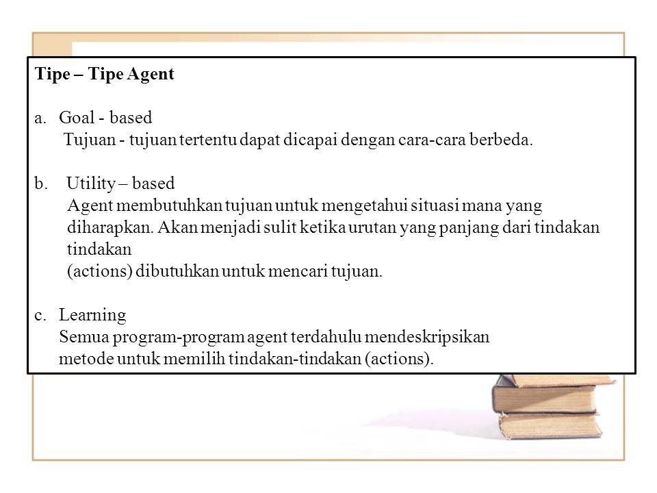 Tipe – Tipe Agent a.Goal - based Tujuan - tujuan tertentu dapat dicapai dengan cara-cara berbeda.
