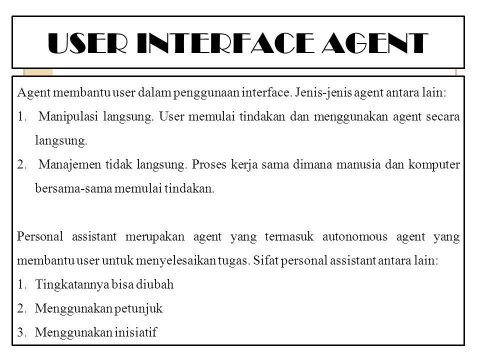 USER INTERFACE AGENT Agent membantu user dalam penggunaan interface.