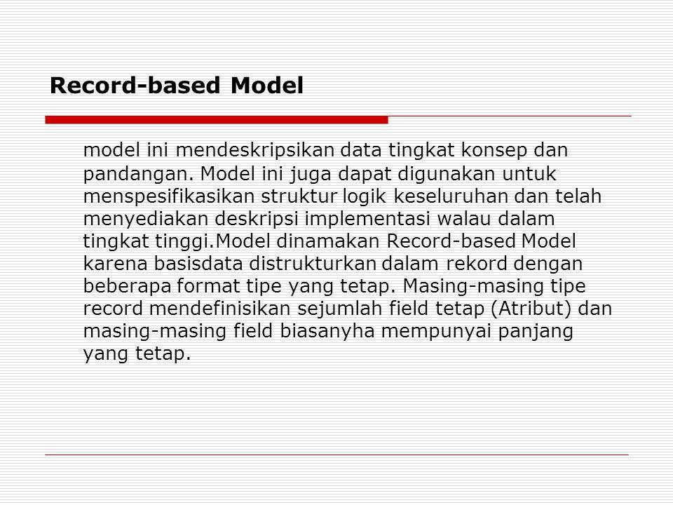 Record-based Model model ini mendeskripsikan data tingkat konsep dan pandangan. Model ini juga dapat digunakan untuk menspesifikasikan struktur logik