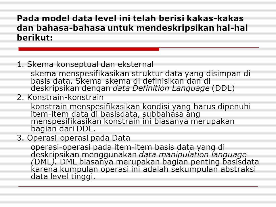 Pada model data level ini telah berisi kakas-kakas dan bahasa-bahasa untuk mendeskripsikan hal-hal berikut: 1. Skema konseptual dan eksternal skema me