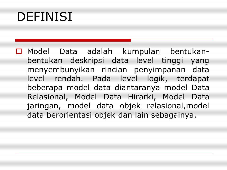 DEFINISI  Model Data adalah kumpulan bentukan- bentukan deskripsi data level tinggi yang menyembunyikan rincian penyimpanan data level rendah. Pada l