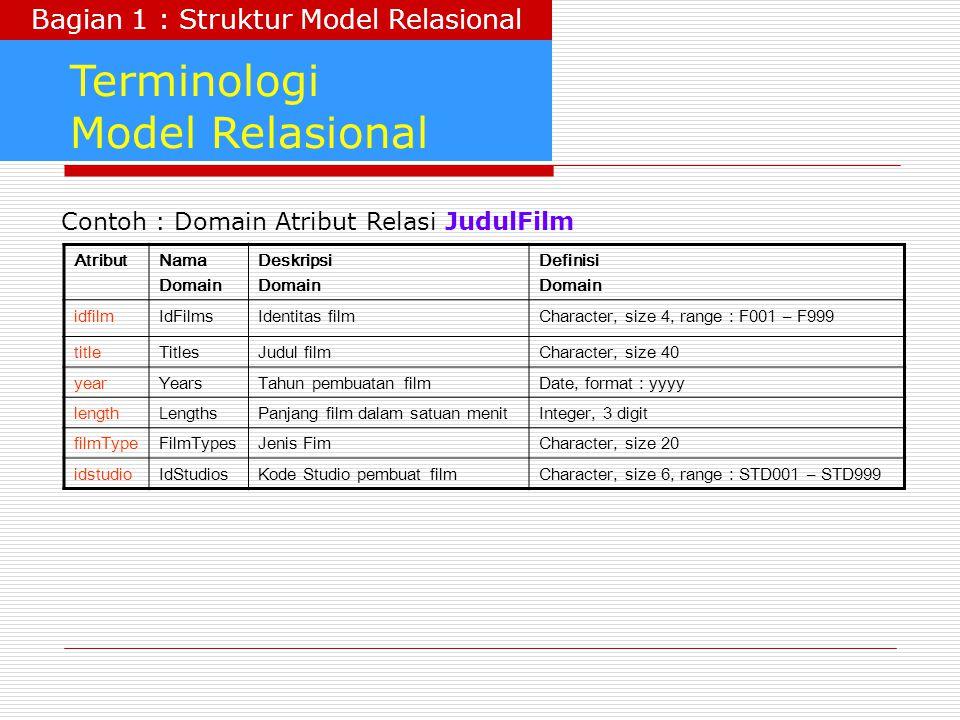 Terminologi Model Relasional AtributNama Domain Deskripsi Domain Definisi Domain idfilmIdFilmsIdentitas filmCharacter, size 4, range : F001 – F999 tit