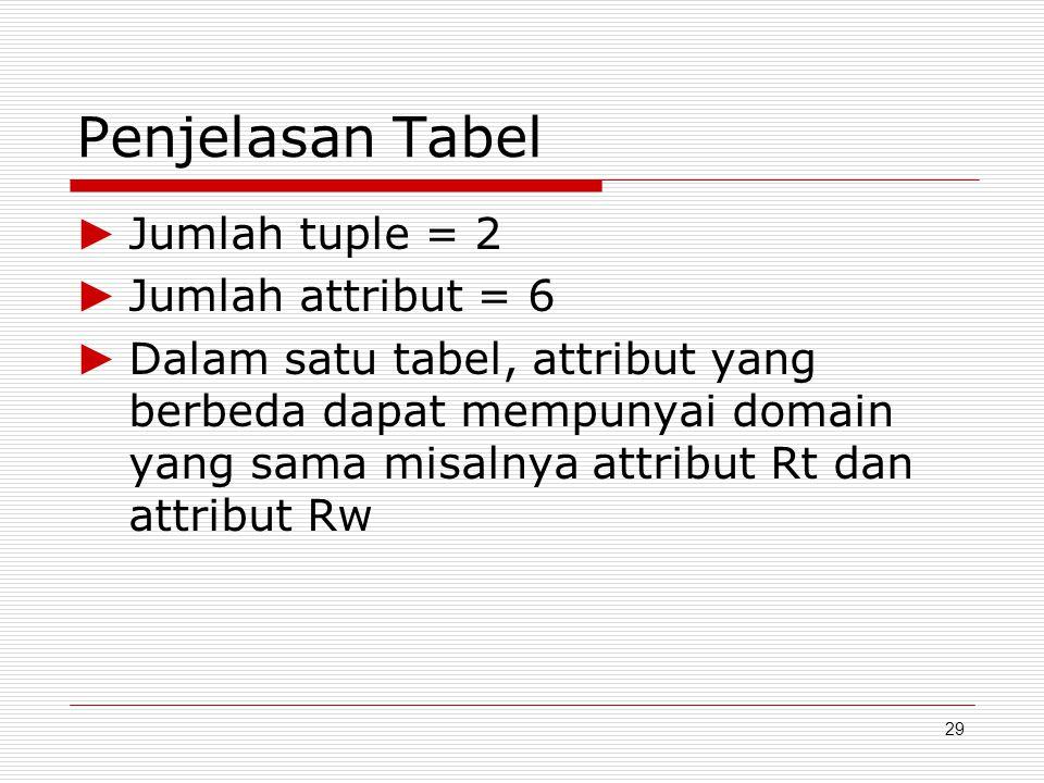 29 Penjelasan Tabel ► Jumlah tuple = 2 ► Jumlah attribut = 6 ► Dalam satu tabel, attribut yang berbeda dapat mempunyai domain yang sama misalnya attri