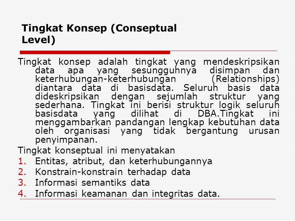 Tingkat Konsep (Conseptual Level) Tingkat konsep adalah tingkat yang mendeskripsikan data apa yang sesungguhnya disimpan dan keterhubungan-keterhubung