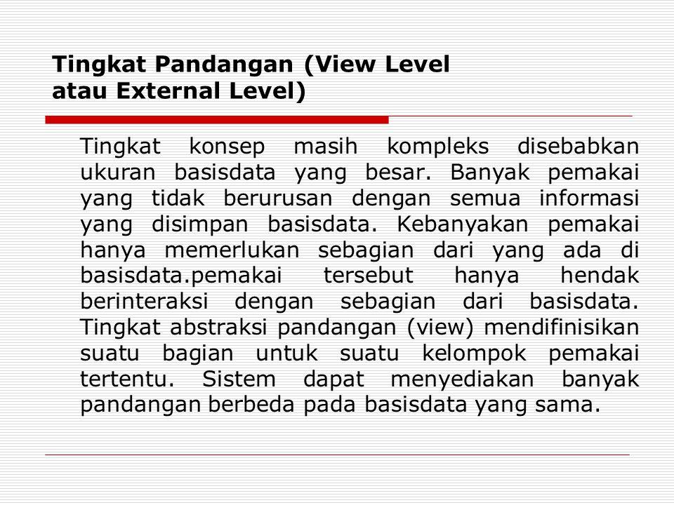 Tingkat Pandangan (View Level atau External Level) Tingkat konsep masih kompleks disebabkan ukuran basisdata yang besar. Banyak pemakai yang tidak ber