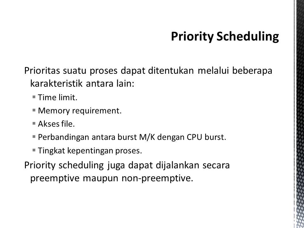  Pada preemptive, jika ada suatu proses yang baru datang memiliki prioritas yang lebih tinggi daripada proses yang sedang dijalankan, maka proses yang sedang berjalan tersebut dihentikan, lalu CPU dialihkan untuk proses yang baru datang tersebut.