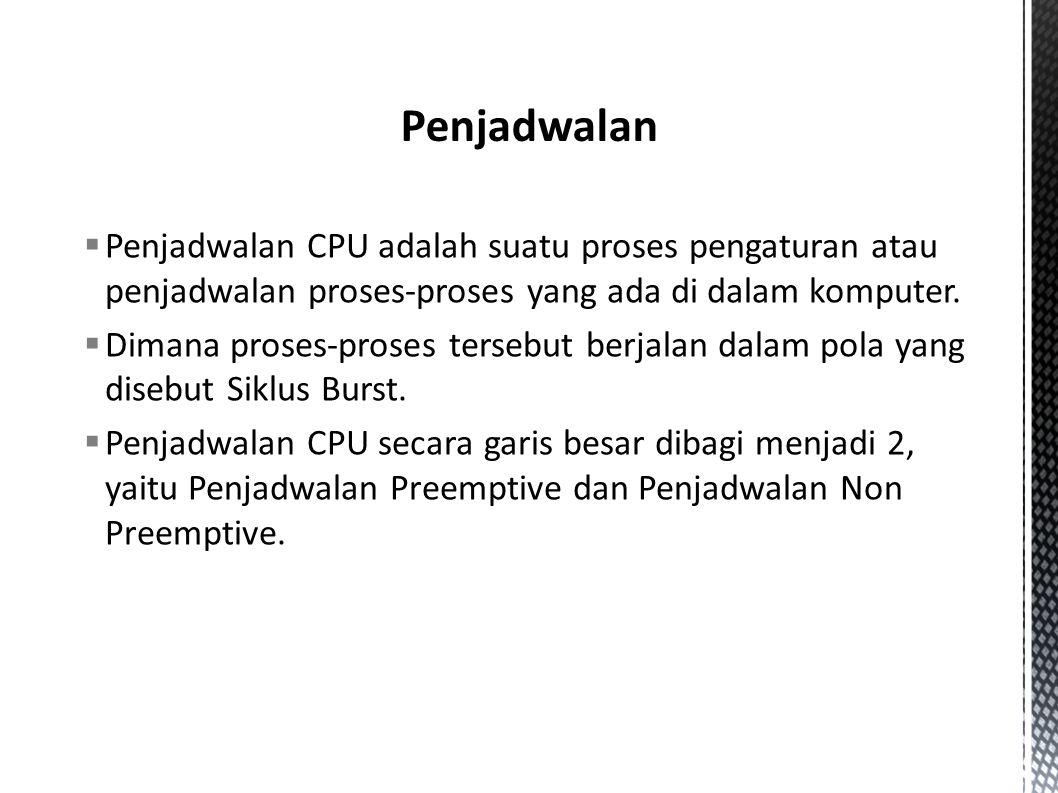  Penjadwalan CPU adalah suatu proses pengaturan atau penjadwalan proses-proses yang ada di dalam komputer.  Dimana proses-proses tersebut berjalan d