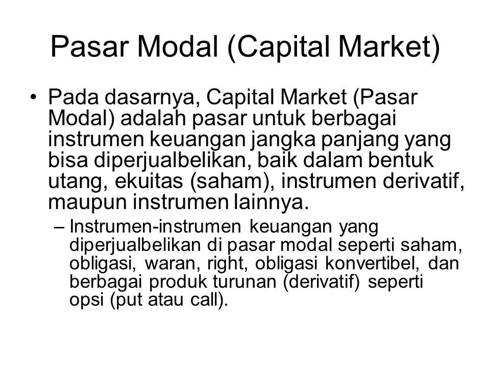 Pasar Modal (Capital Market) Pada dasarnya, Capital Market (Pasar Modal) adalah pasar untuk berbagai instrumen keuangan jangka panjang yang bisa diperjualbelikan, baik dalam bentuk utang, ekuitas (saham), instrumen derivatif, maupun instrumen lainnya.