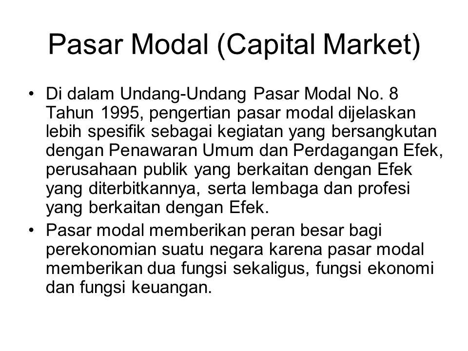 Pasar Modal (Capital Market) Di dalam Undang-Undang Pasar Modal No. 8 Tahun 1995, pengertian pasar modal dijelaskan lebih spesifik sebagai kegiatan ya