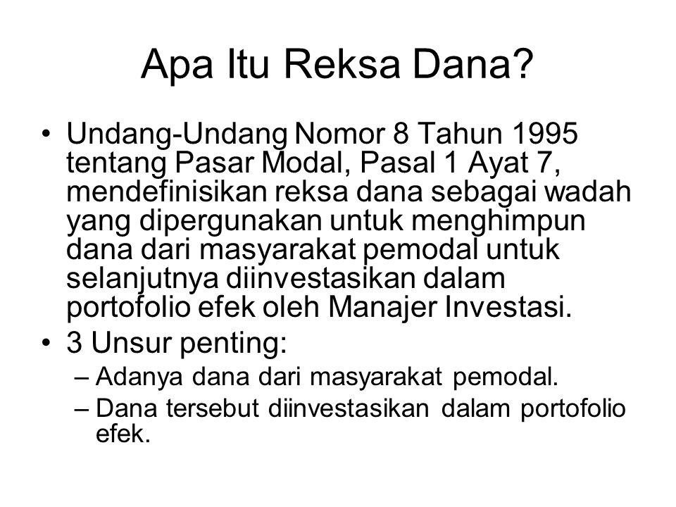Apa Itu Reksa Dana? Undang-Undang Nomor 8 Tahun 1995 tentang Pasar Modal, Pasal 1 Ayat 7, mendefinisikan reksa dana sebagai wadah yang dipergunakan un