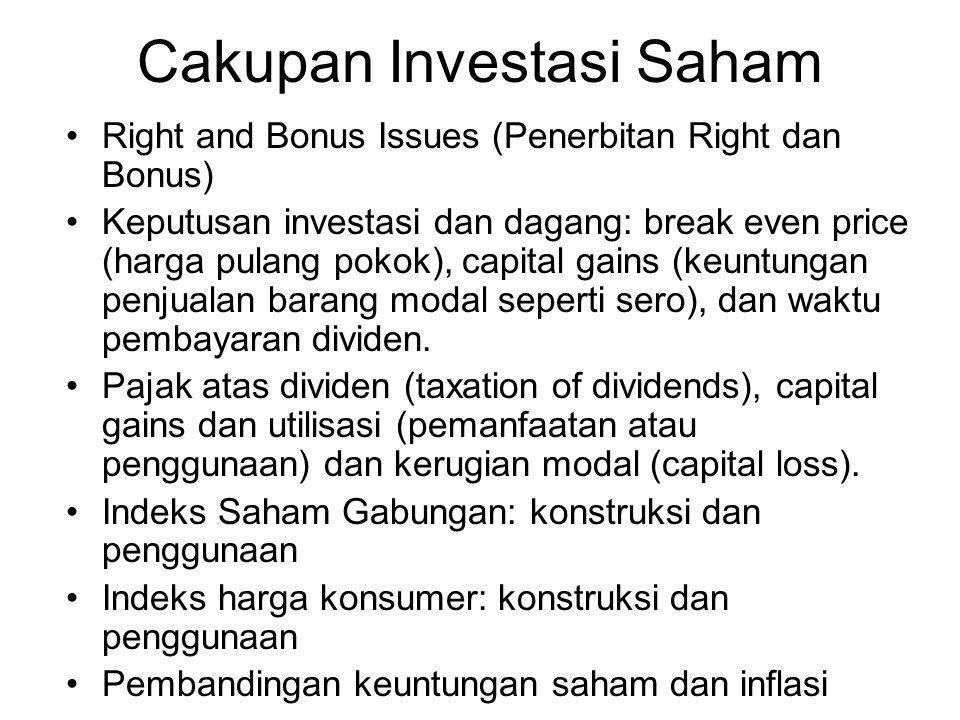 Cakupan Investasi Saham Right and Bonus Issues (Penerbitan Right dan Bonus) Keputusan investasi dan dagang: break even price (harga pulang pokok), capital gains (keuntungan penjualan barang modal seperti sero), dan waktu pembayaran dividen.