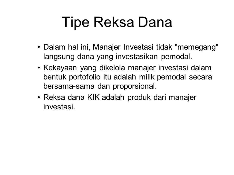 Tipe Reksa Dana Dalam hal ini, Manajer Investasi tidak memegang langsung dana yang investasikan pemodal.