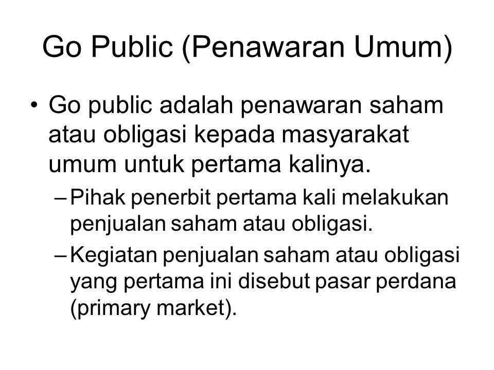 Go Public (Penawaran Umum) Go public adalah penawaran saham atau obligasi kepada masyarakat umum untuk pertama kalinya. –Pihak penerbit pertama kali m