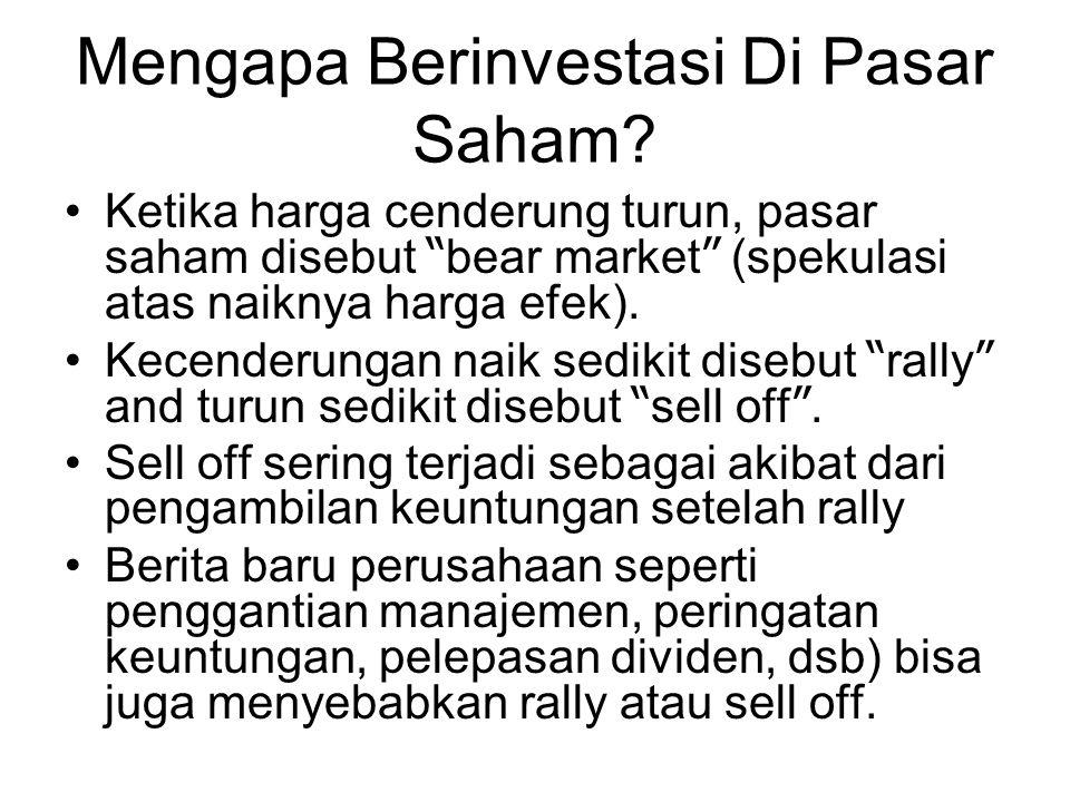 """Mengapa Berinvestasi Di Pasar Saham? Ketika harga cenderung turun, pasar saham disebut """" bear market """" (spekulasi atas naiknya harga efek). Kecenderun"""