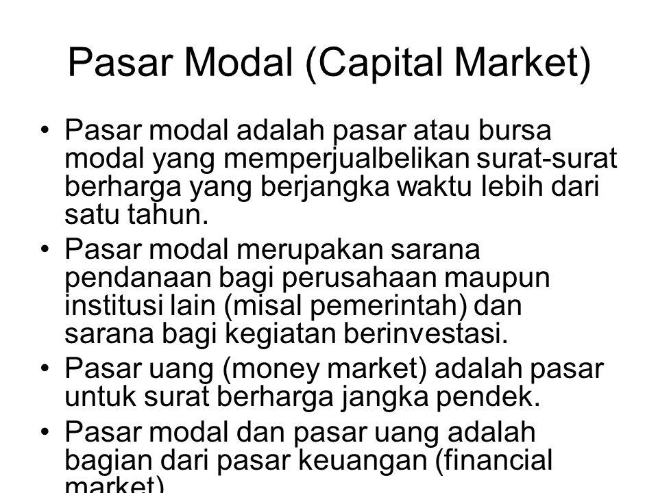 Pasar Modal (Capital Market) Pasar modal adalah pasar atau bursa modal yang memperjualbelikan surat-surat berharga yang berjangka waktu lebih dari satu tahun.