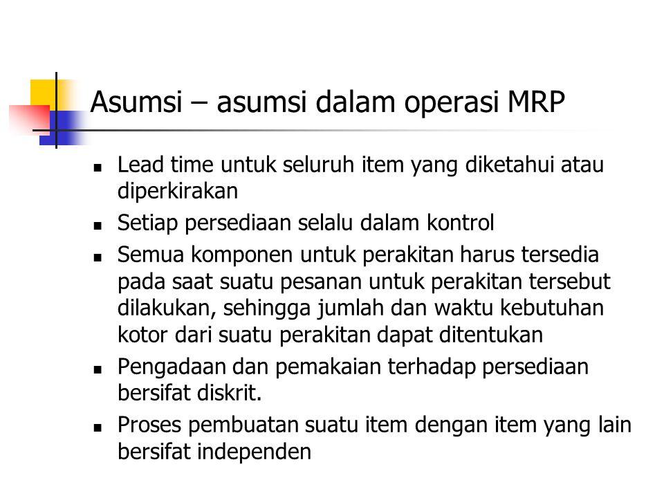 Asumsi – asumsi dalam operasi MRP Lead time untuk seluruh item yang diketahui atau diperkirakan Setiap persediaan selalu dalam kontrol Semua komponen