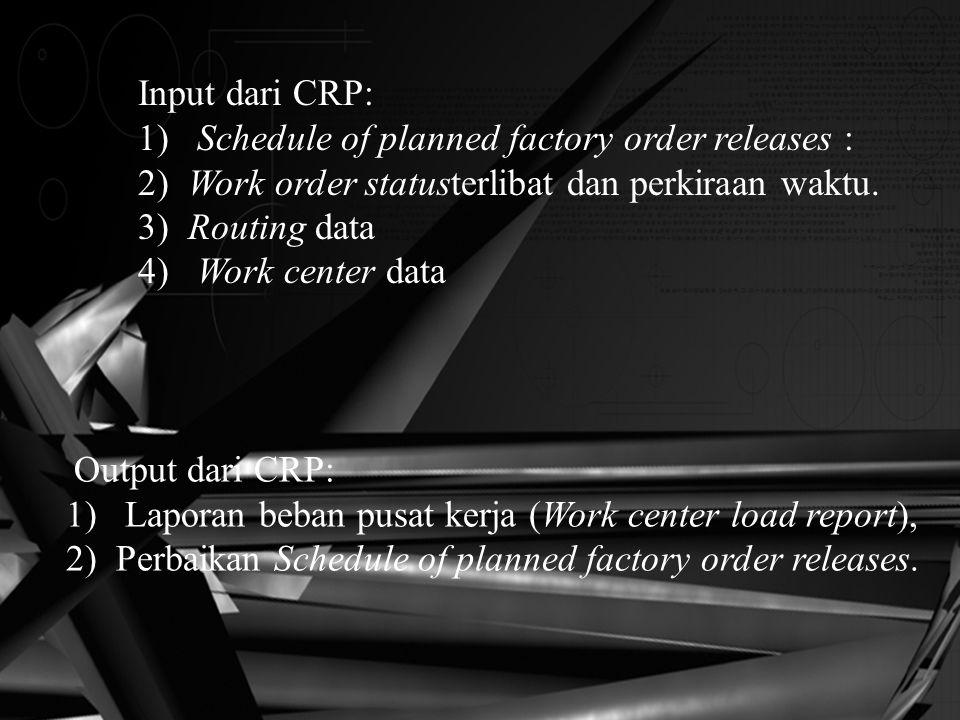 Input dari CRP: 1) Schedule of planned factory order releases : 2) Work order statusterlibat dan perkiraan waktu. 3) Routing data 4) Work center data