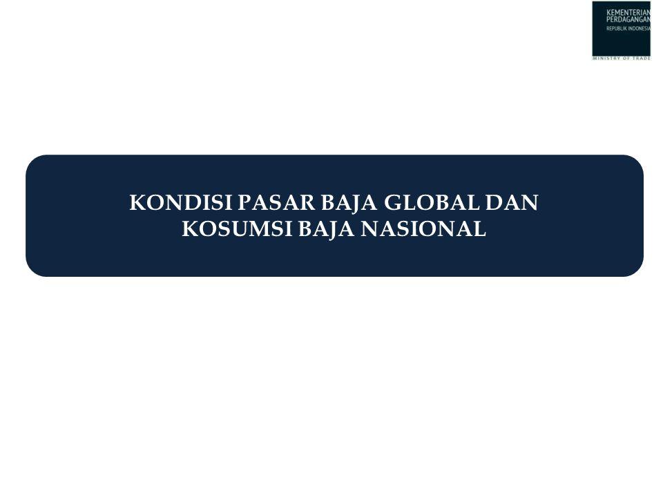 KONDISI PASAR BAJA GLOBAL: Persaingan Sangat Ketat Source: WSD (2014), Morgan Stanley (2013), McKinsey (2014) Source: SBB, 2014 Year2011201220132014f Production683702775802 Consumption650663729751 Oversupply33394651  Konsumsi baja dunia diperkirakan akan terus meningkat pada 2009 – 2018.