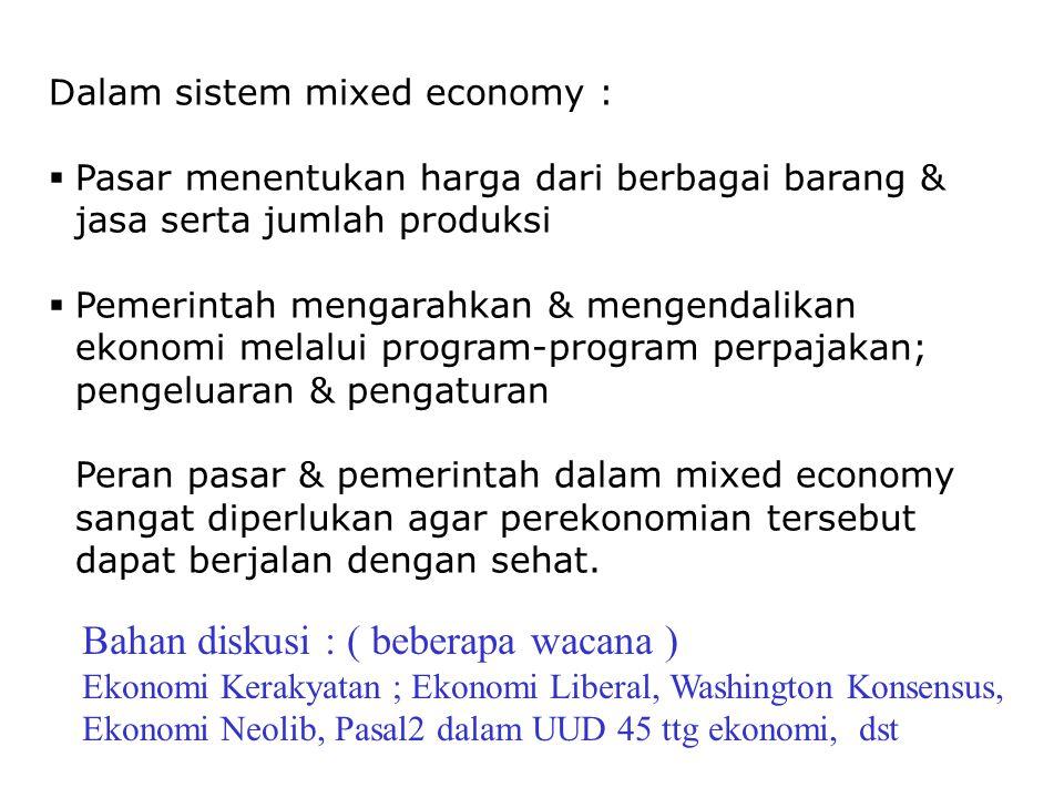 Model Perekonomian 3 Sektor Y = C + S + T Y = C + I + G Dalam perekonomian model 3 sektor keseimbangan ekonomi (makro) tercapai saat : S + T = memperkecil arus uang/jumlah uang beredar (kebocoran) I + G = memperbesar arus uang/jumlah uang beredar (injeksi) Arus T & G dapat dikendalikan melalui kebijakan fiskal dalam RTN S + T = I + G PH