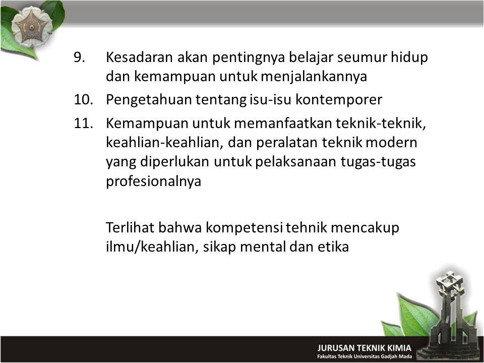 9.Kesadaran akan pentingnya belajar seumur hidup dan kemampuan untuk menjalankannya 10.Pengetahuan tentang isu-isu kontemporer 11.Kemampuan untuk mema