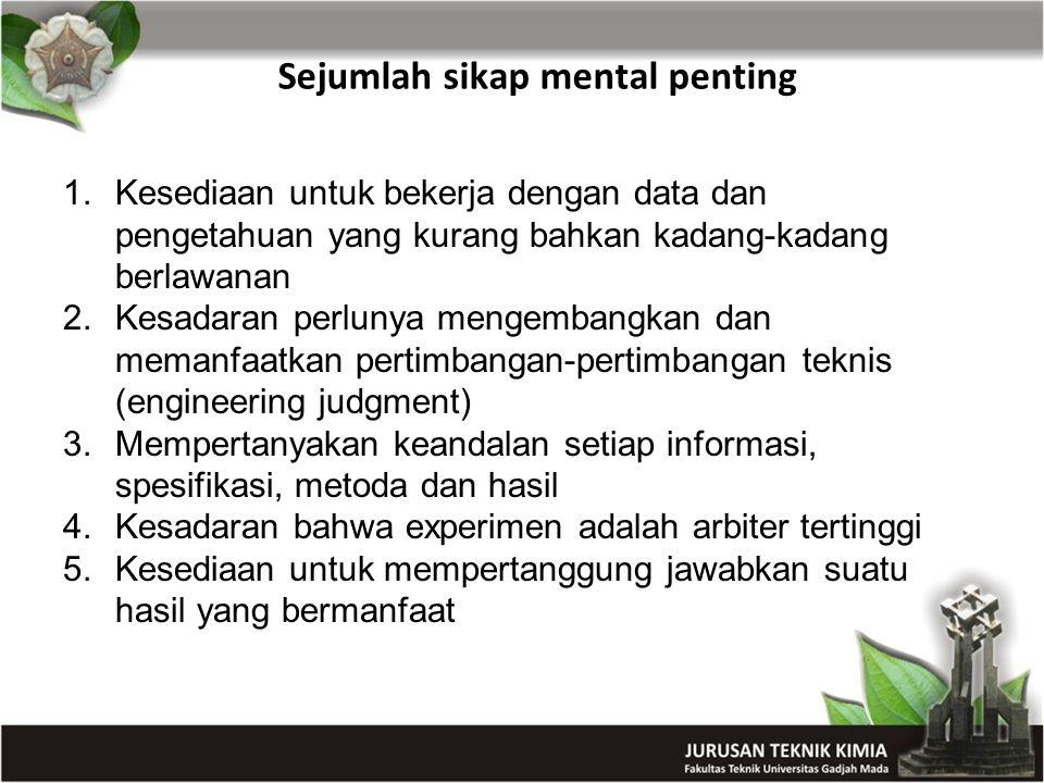 Sejumlah sikap mental penting 1.Kesediaan untuk bekerja dengan data dan pengetahuan yang kurang bahkan kadang-kadang berlawanan 2.Kesadaran perlunya m