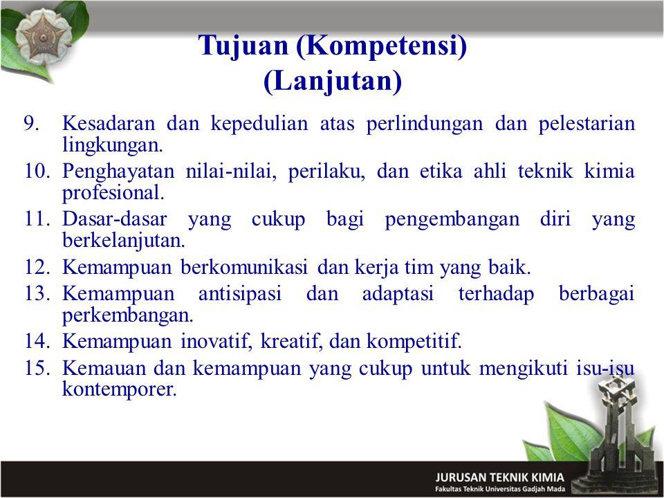Tujuan (Kompetensi) (Lanjutan) 9.Kesadaran dan kepedulian atas perlindungan dan pelestarian lingkungan. 10.Penghayatan nilai-nilai, perilaku, dan etik