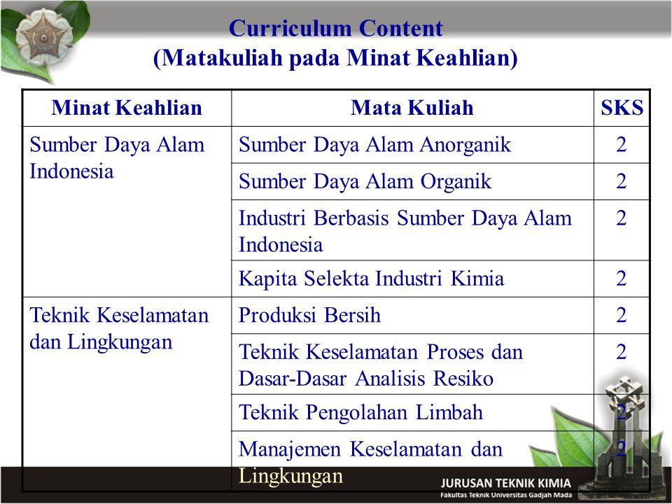 Curriculum Content (Matakuliah pada Minat Keahlian) Minat KeahlianMata KuliahSKS Sumber Daya Alam Indonesia Sumber Daya Alam Anorganik2 Sumber Daya Al