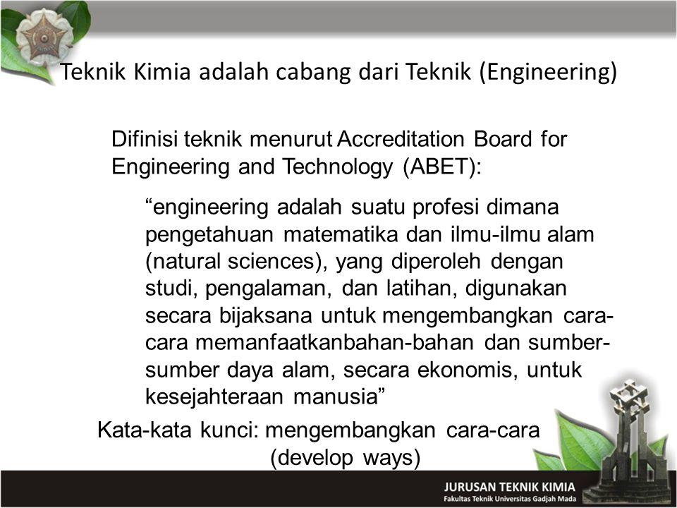 "Teknik Kimia adalah cabang dari Teknik (Engineering) Difinisi teknik menurut Accreditation Board for Engineering and Technology (ABET): ""engineering a"