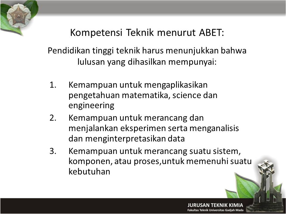 Kompetensi Teknik menurut ABET: Pendidikan tinggi teknik harus menunjukkan bahwa lulusan yang dihasilkan mempunyai: 1.Kemampuan untuk mengaplikasikan