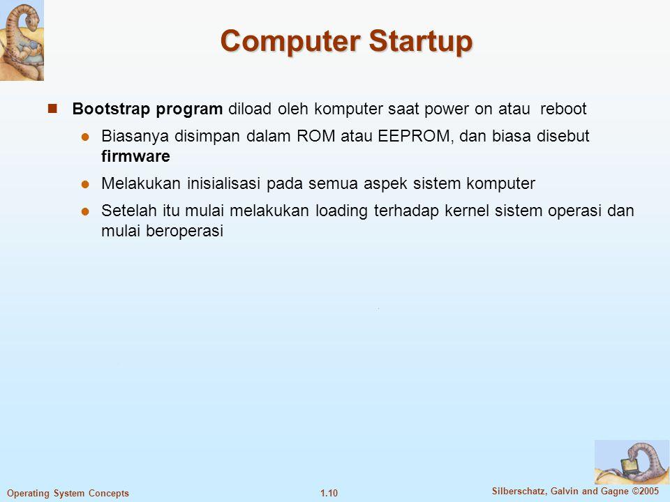1.9 Silberschatz, Galvin and Gagne ©2005 Operating System Concepts Kernel Kernel adalah program yang bertugas mengatur input/output request dari aplik