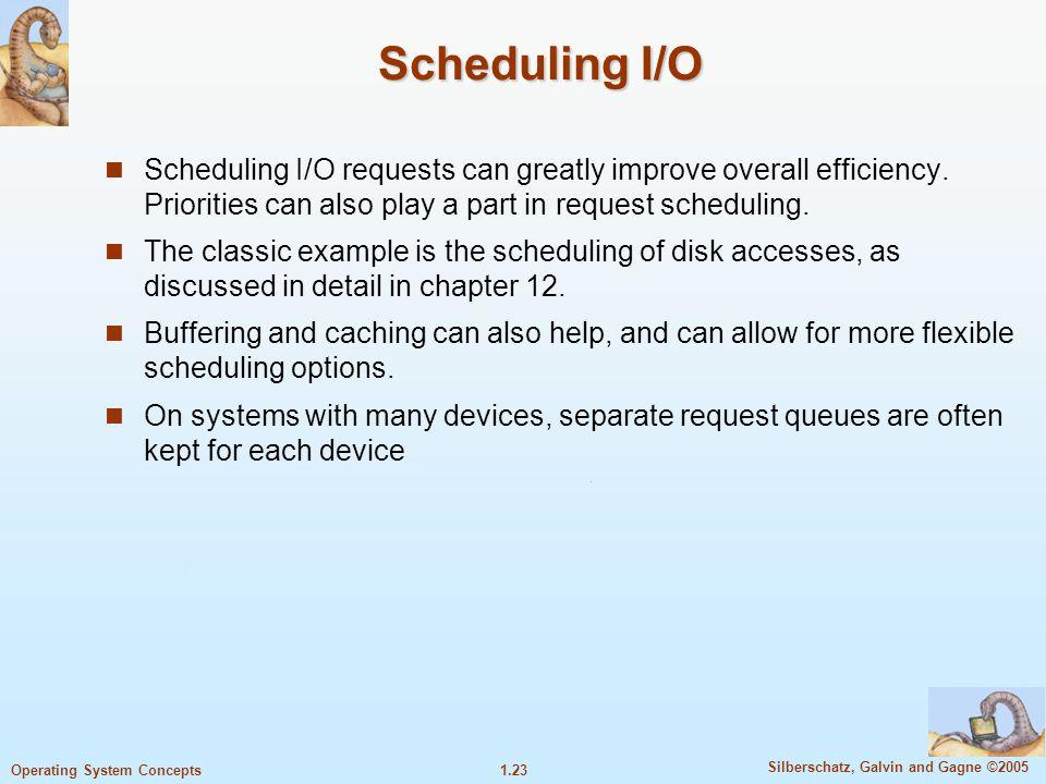 1.22 Silberschatz, Galvin and Gagne ©2005 Operating System Concepts Synchronous I/O Setelah I/O bekerja, user program memagang kontrol kembali hanya s