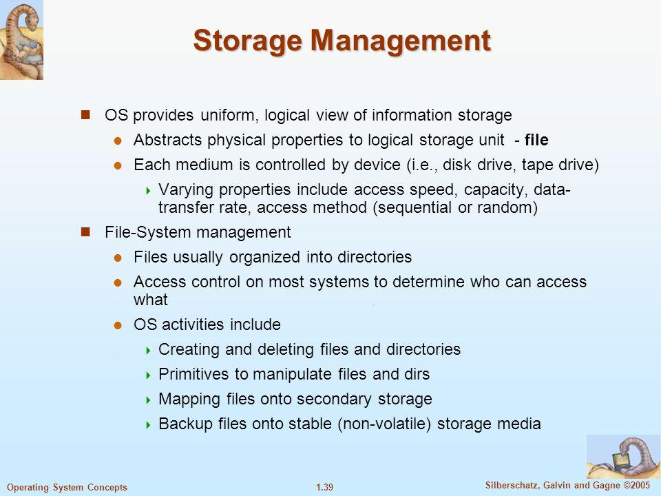 1.38 Silberschatz, Galvin and Gagne ©2005 Operating System Concepts Memory Management Semua data disimpan dalam memory sebelum dan sesudah processing