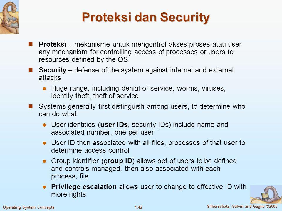 1.41 Silberschatz, Galvin and Gagne ©2005 Operating System Concepts I/O Subsystem Salah satu motivasi pemakaian OS adalah menghindarkan user dari inte