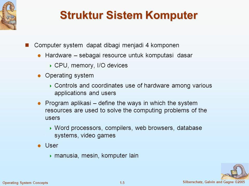 1.15 Silberschatz, Galvin and Gagne ©2005 Operating System Concepts Ketika interrupt diterima, CPU harus 1.