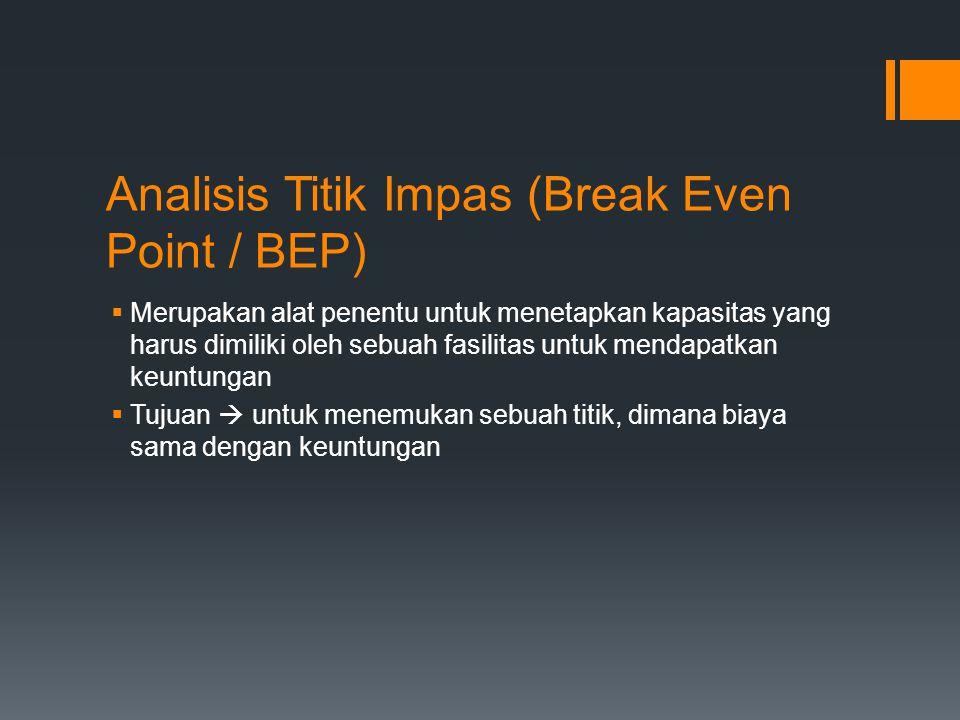 Analisis Titik Impas (Break Even Point / BEP)  Merupakan alat penentu untuk menetapkan kapasitas yang harus dimiliki oleh sebuah fasilitas untuk mend