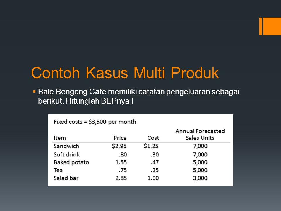 Contoh Kasus Multi Produk  Bale Bengong Cafe memiliki catatan pengeluaran sebagai berikut. Hitunglah BEPnya !