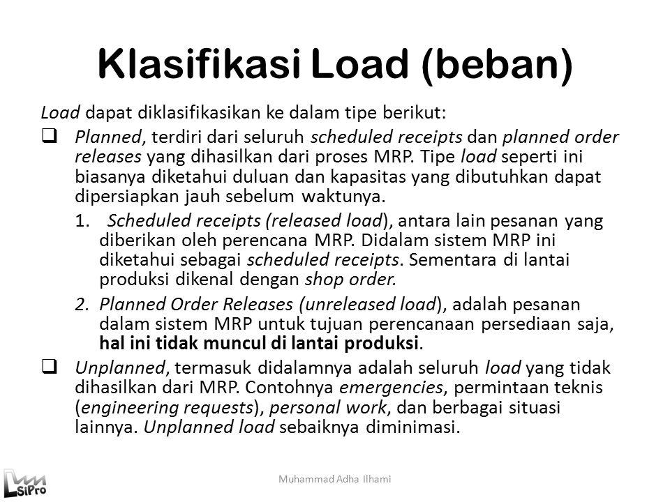 Klasifikasi Load (beban) Load dapat diklasifikasikan ke dalam tipe berikut:  Planned, terdiri dari seluruh scheduled receipts dan planned order releases yang dihasilkan dari proses MRP.