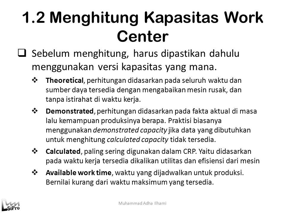 1.2 Menghitung Kapasitas Work Center Muhammad Adha Ilhami  Sebelum menghitung, harus dipastikan dahulu menggunakan versi kapasitas yang mana.