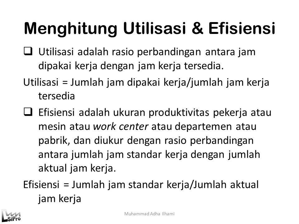 Menghitung Utilisasi & Efisiensi Muhammad Adha Ilhami  Utilisasi adalah rasio perbandingan antara jam dipakai kerja dengan jam kerja tersedia.