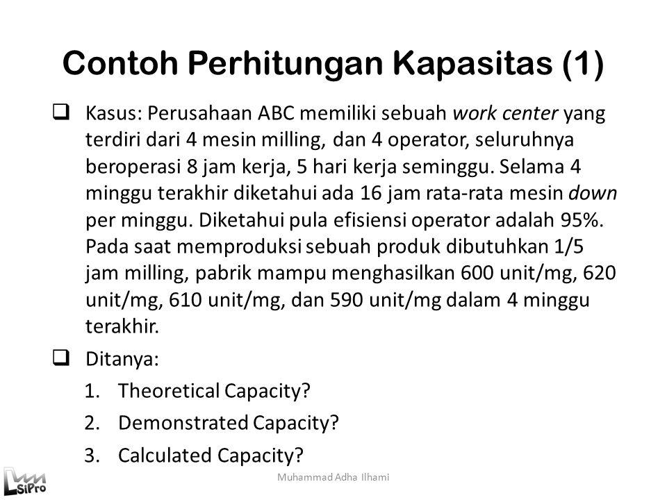 Contoh Perhitungan Kapasitas (1) Muhammad Adha Ilhami  Kasus: Perusahaan ABC memiliki sebuah work center yang terdiri dari 4 mesin milling, dan 4 operator, seluruhnya beroperasi 8 jam kerja, 5 hari kerja seminggu.