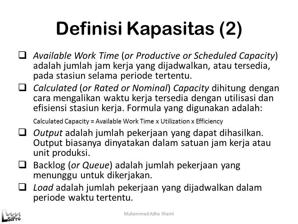 Definisi Kapasitas (2)  Available Work Time (or Productive or Scheduled Capacity) adalah jumlah jam kerja yang dijadwalkan, atau tersedia, pada stasiun selama periode tertentu.