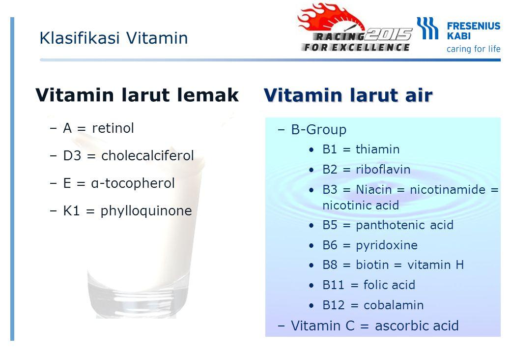Klasifikasi Vitamin Vitamin larut lemak –A = retinol –D3 = cholecalciferol –E = α-tocopherol –K1 = phylloquinone Vitamin larut air –B-Group B1 = thiam