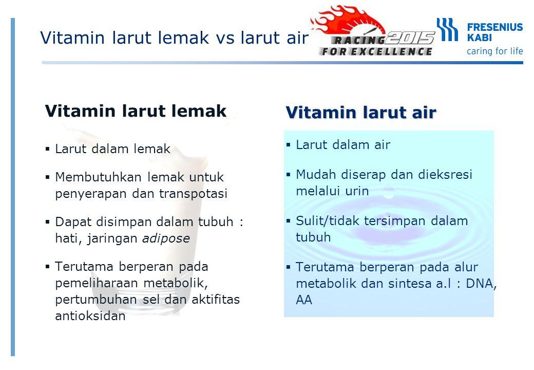 Vitamin larut lemak vs larut air Vitamin larut lemak  Larut dalam lemak  Membutuhkan lemak untuk penyerapan dan transpotasi  Dapat disimpan dalam t