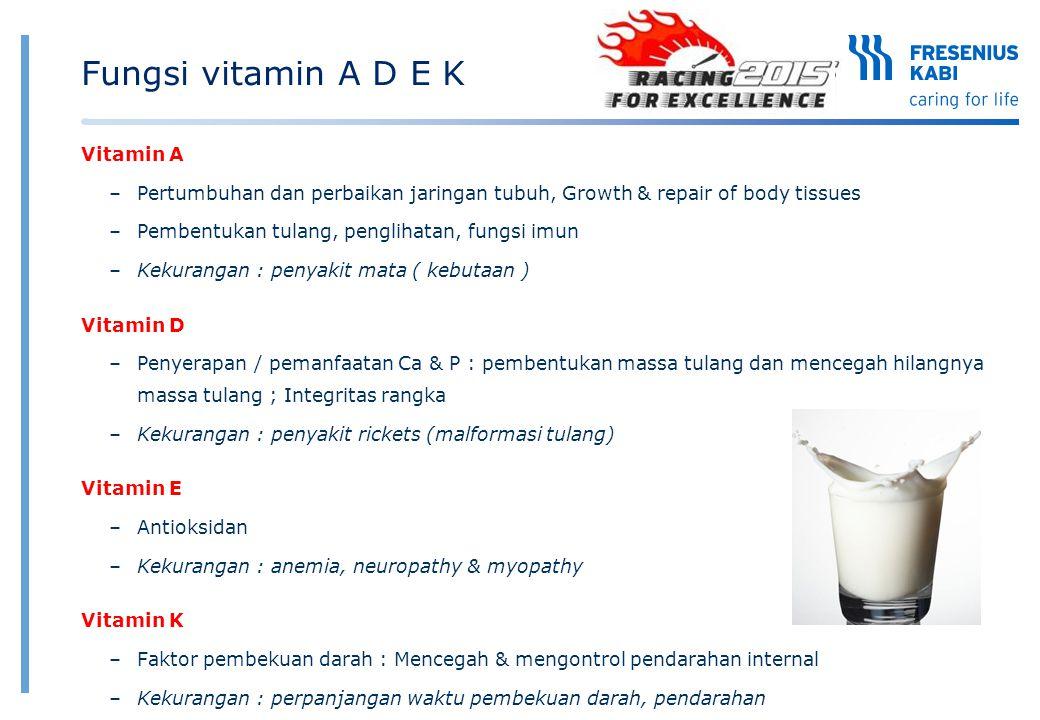 Fungsi vitamin A D E K Vitamin A –Pertumbuhan dan perbaikan jaringan tubuh, Growth & repair of body tissues –Pembentukan tulang, penglihatan, fungsi i